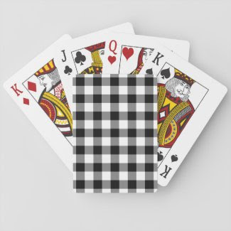 Black and White Gingham Pattern Poker Deck