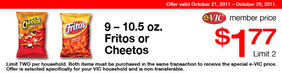 Fritos or Cheetos - 12.5-14 oz : eVIC Member Price - $1.77 ea - Limit 2