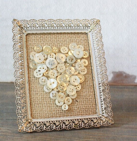 Vintage Inspired Burlap Button Heart in Rusty Frame
