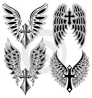 Winged Cross Tattoos Designs