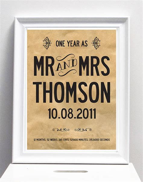 First Wedding Anniversary Personalised Name/Date Print