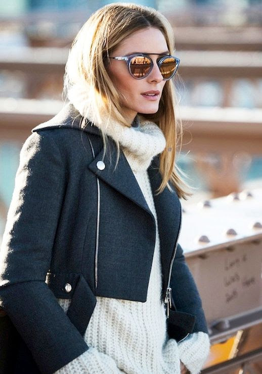 Le Fashion Blog Olivia Palermo Fall Style Blue Mirrored Sunglasses Cropped Moto Jacket White Knit Turtleneck Via Westward Leaning Collection