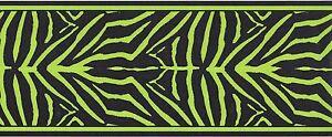 Black Lime Green Zebra Skin Peel Stick Wallpaper Border QA4W1651 ...