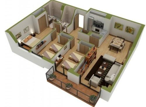 Denah rumah 3 kamar 1
