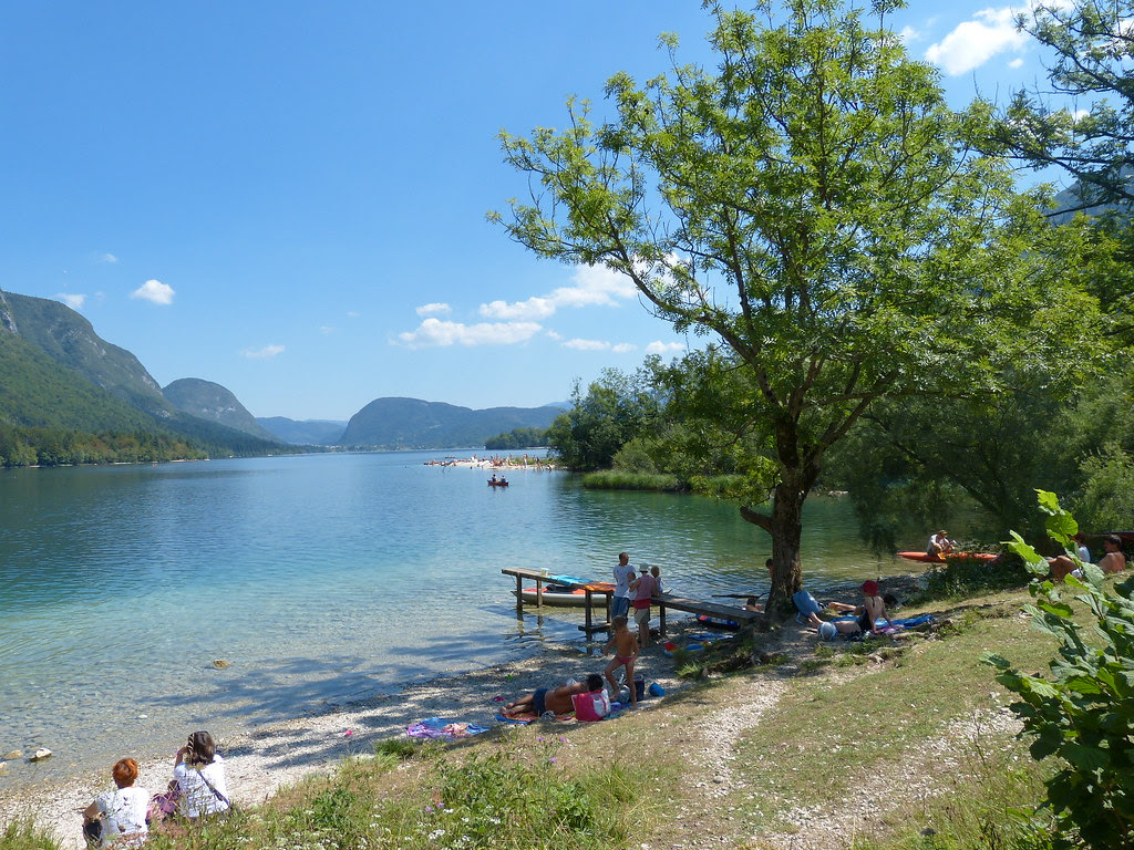 Relaxing in Lake Bohinj