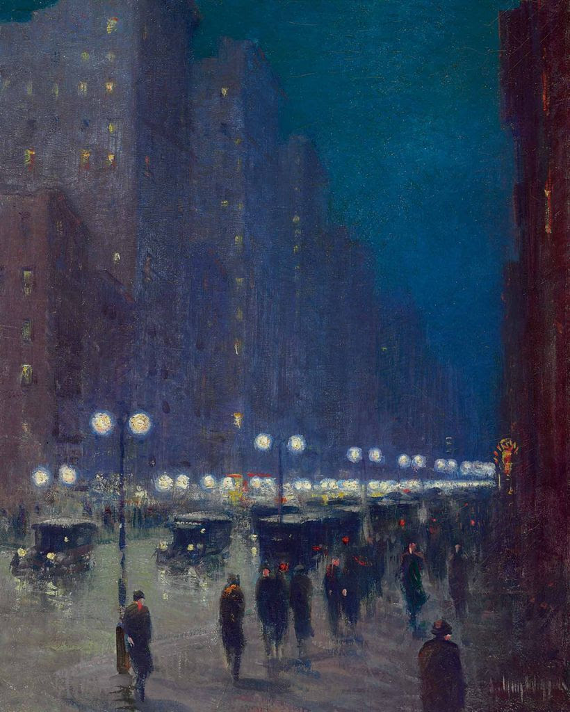 "poboh:  ""Lower Fifth Avenue at Night"", Guy Wiggins. American Impressionist Painter (1883 - 1962)"