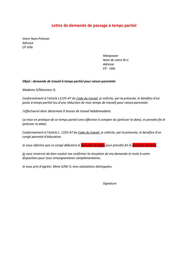 Lettre Demande Temps Partiel 80 Congé Parental - Exemple de Lettre