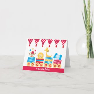Animal Circus Train Note Cards card