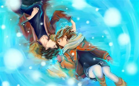 Anime Couple Laying Down HD Wallpaper   M9Themes