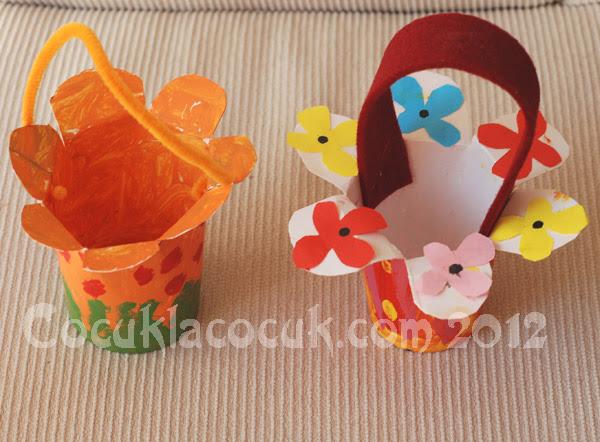 Kağıt Bardaktan çiçekli Sepet Yapımı Cocuklacocuk