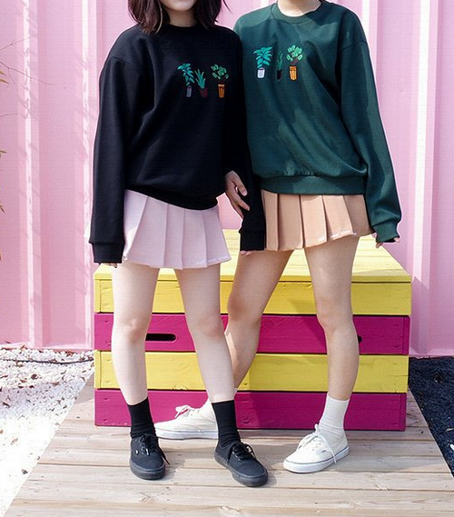 [Mixxmix] Embroidered Potted Plant Detail Sweatshirt