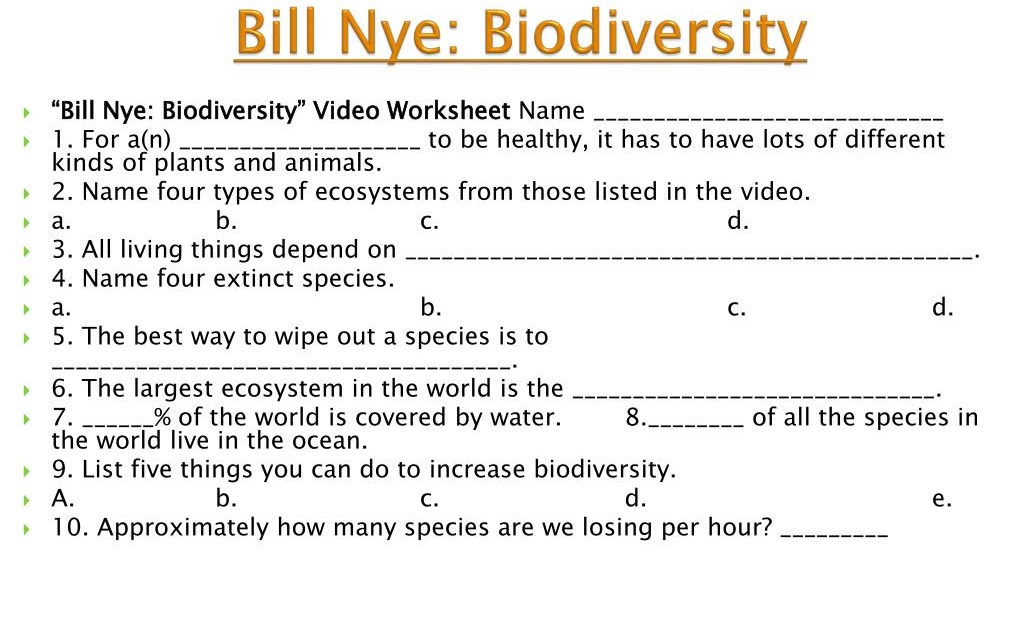 Bill Nye Biodiversity Worksheet Answers - Promotiontablecovers
