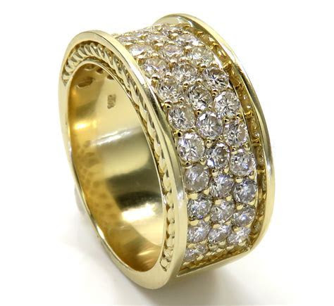 10K Yellow Gold 3 Row Big Diamond Wedding Band Ring 2.52CT