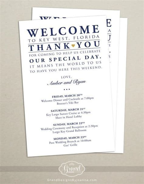 Itinerary Cards for Wedding Hotel Welcome Bag by
