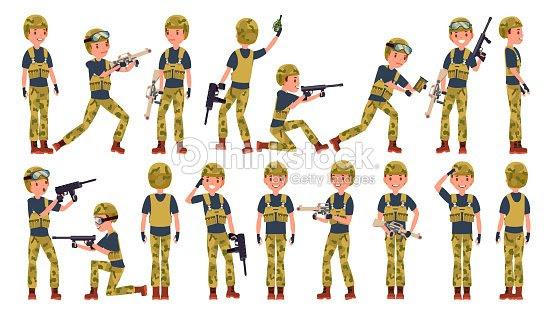 兵士男性ベクトルさまざまなポーズアクションで軍の人々迷彩服を着た軍隊