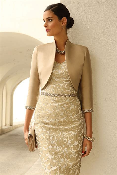 Short embossed dress with bead belt and bolero jacket with