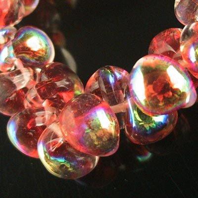 s20683 Handmade Boro Lampwork  - 8 x 11 mm Teardrop Swoops - Glistening Scarlet (strand 25)