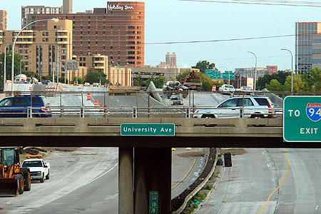The north bridge approach from the 5th Street SE Pedestrian Bridge