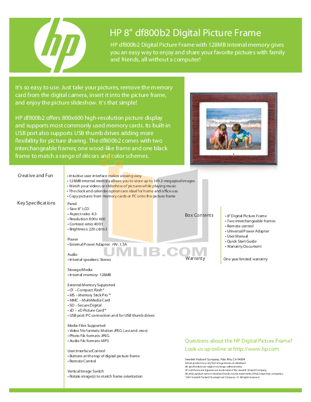 Download Free Pdf For Hp Df800 Digital Photo Frame Manual