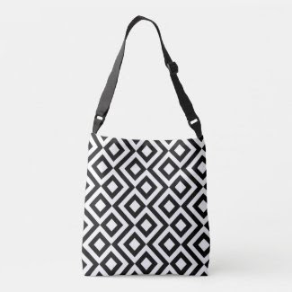Stylish All-Over-Print Black and White Meander Tote Bag
