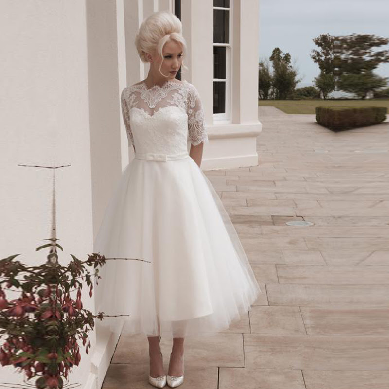 From the tea length lace dresses with sleeves special occasion quince