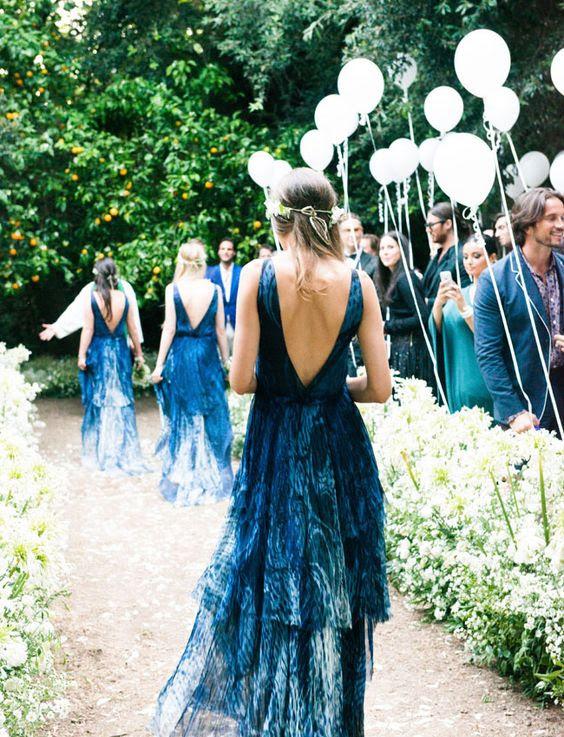 low back indigo gefärbt Brautjungfern Kleider fangen jedermanns Auge