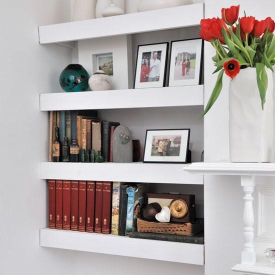 Floating shelves in living room alcove   Living room ...