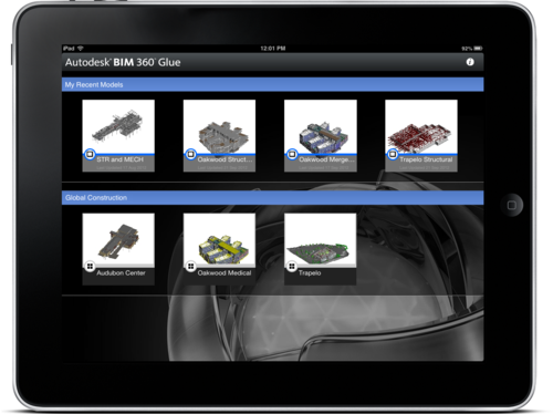 Access Autodesk BIM 360 Glue Projects and Models mobile ipad app