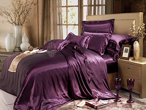 Taihu Snow 100% Pure Mulberry Silk 19 Momme Embroidery Solid Seamless 4-Piece Luxury Bedding Sheet Set (Queen, Dark Magenta)
