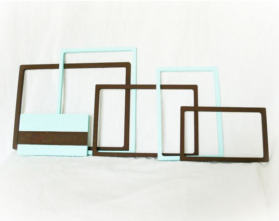 Painted Frames Upcycled Home Decor Set of 6 Mint Chocolate Mod - PaddywhackKnickKnack
