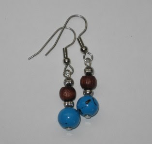 Wood, silver metal, and fake turquoisey plasticky pretty beads