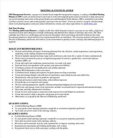 Sample Event Planner Job Description   8  Examples in PDF