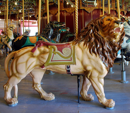 The majestic lion on the Port Dalhousie Carousel