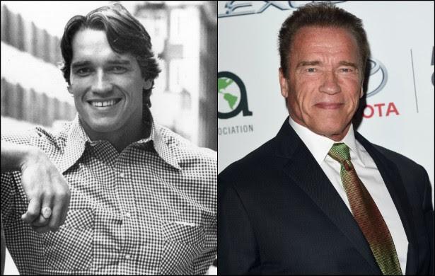 Nascido na Áustria, Arnold Schwarzenegger estava com 30 anos de idade quando posou para a foto da esquerda, em setembro de 1977. Atualmente o ator, que já foi governador do estado norte-americano da Califórnia, está com 67. (Foto: Getty Images)