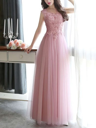 Modest Scoop Neck Tulle Pearl Detailing Lace-up Floor-length Prom Dresses #UKM020102317