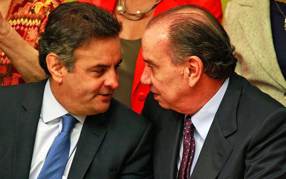 Aécio Neves e  Aloysio Nunes; derrotados na eleição presidencial de 2014 (Foto: Beto Nociti/Futura Press/Estadão Conteúdo)