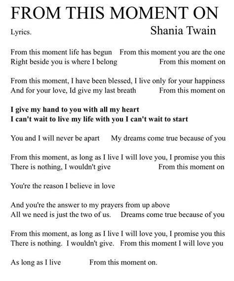 FROM THIS MOMENT ON. Lyrics. Shania Twain.   Tinkerbell
