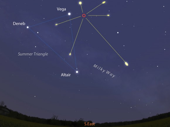 Lyrid meteors will appear to radiate (red circle) from a point near the bright star Vega in the constellation Lyra. This map shows the sky facing southeast around 3:30 a.m. April 22 - around the time of maximum. Stellarium