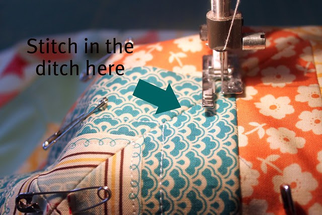 Stitch in the ditch to keep quilting