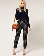 See by Chloe Wool Peg Trouser In Check With Belt