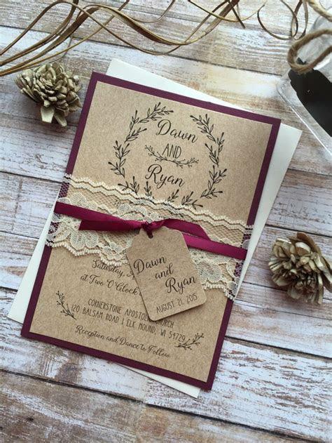 Rustic Wedding Invitation, Burgundy Wedding Invitation