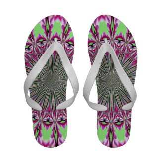 Redbud Blowout pink and green abstract Flip Flops