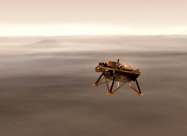 A computer-generated image of NASA's InSight lander about to touch down on Mars.
