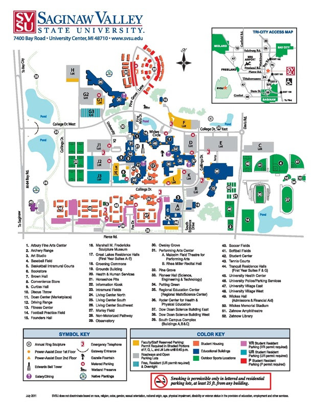 Svsu Campus Map Saginaw Valley State University Campus Map | Time Zones Map