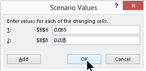 Scenario Values screen