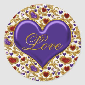Red Purple and Gold Hearts Ornate Gold Swirls Love