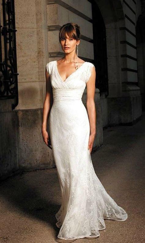Elegant Lace V neck Wedding Dress for Older Brides Over 40