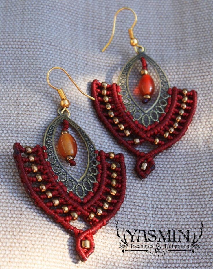 micro macrame earrings by yasmin