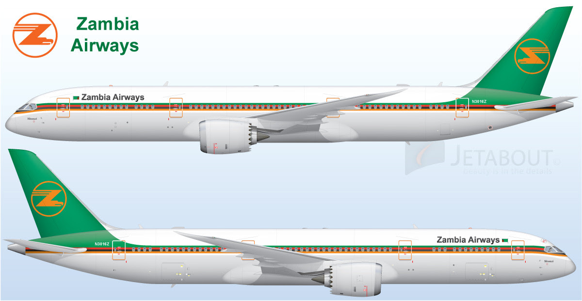An artist's rendering of a Zambia Airways 787