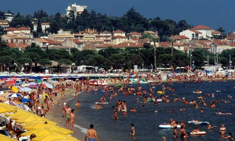 The beach at Ste Maxime attracts many people during the summer